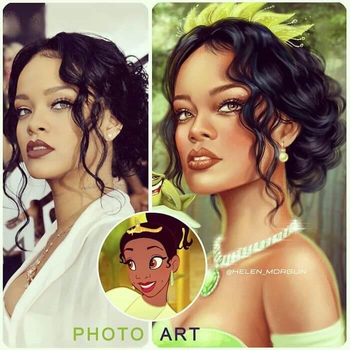 03-Rihanna-As-Tiana-Helen-Morgun-Celebrities-and-Disney-www-designstack-co
