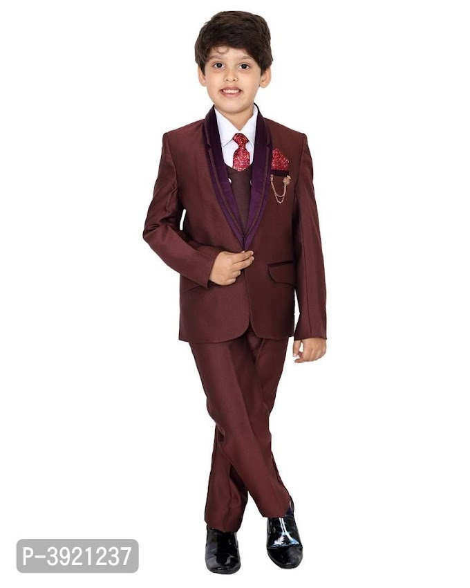 5 to 16 Years Old Boys Stylish Maroon Polyester 5 Piece Coat Suit with Shirt Pant Blazer Waistcoat & tie Online Shopping  