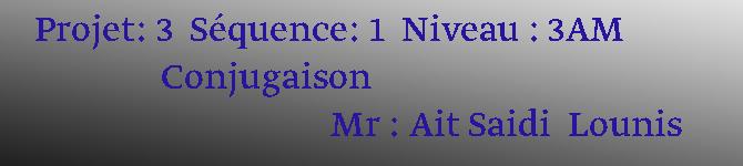 Projet: 3  Séquence: 1  Niveau : 3AM                Conjugaison