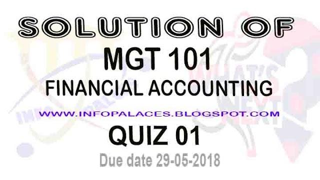 MGT 101 Quiz 1 Spring 2018 Solution