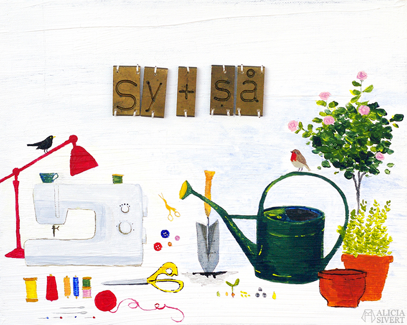 """Sy + så"" (Swedish for sew + sow), mixed media painting by Alicia Sivertsson for Monthly Makers alicia sivert aliciasivert skapa skapande kreativitet utmaning bloggutmaning create creativity craft handicraft painting acrylic acrylics måla målning paint akryl akylmålning blandteknik assemblage broderi på målning duk rödhake koltrast robin blackbird watercan vattenkanna flower pot blomkrukor blomkruka rosenbuska rose bush sewing machine symaskin garn trådrullar bobbin yarn bokstäver och ord september 2016"