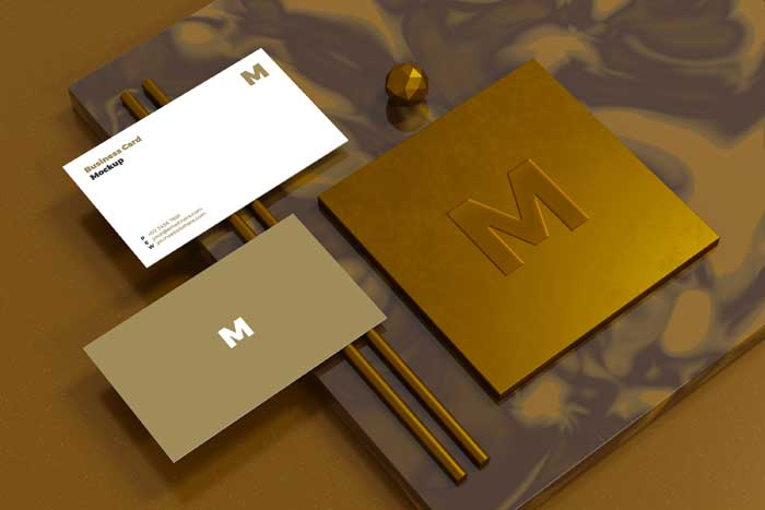 Business Card Mockup With Logo Branding Showcase 3D Rendering