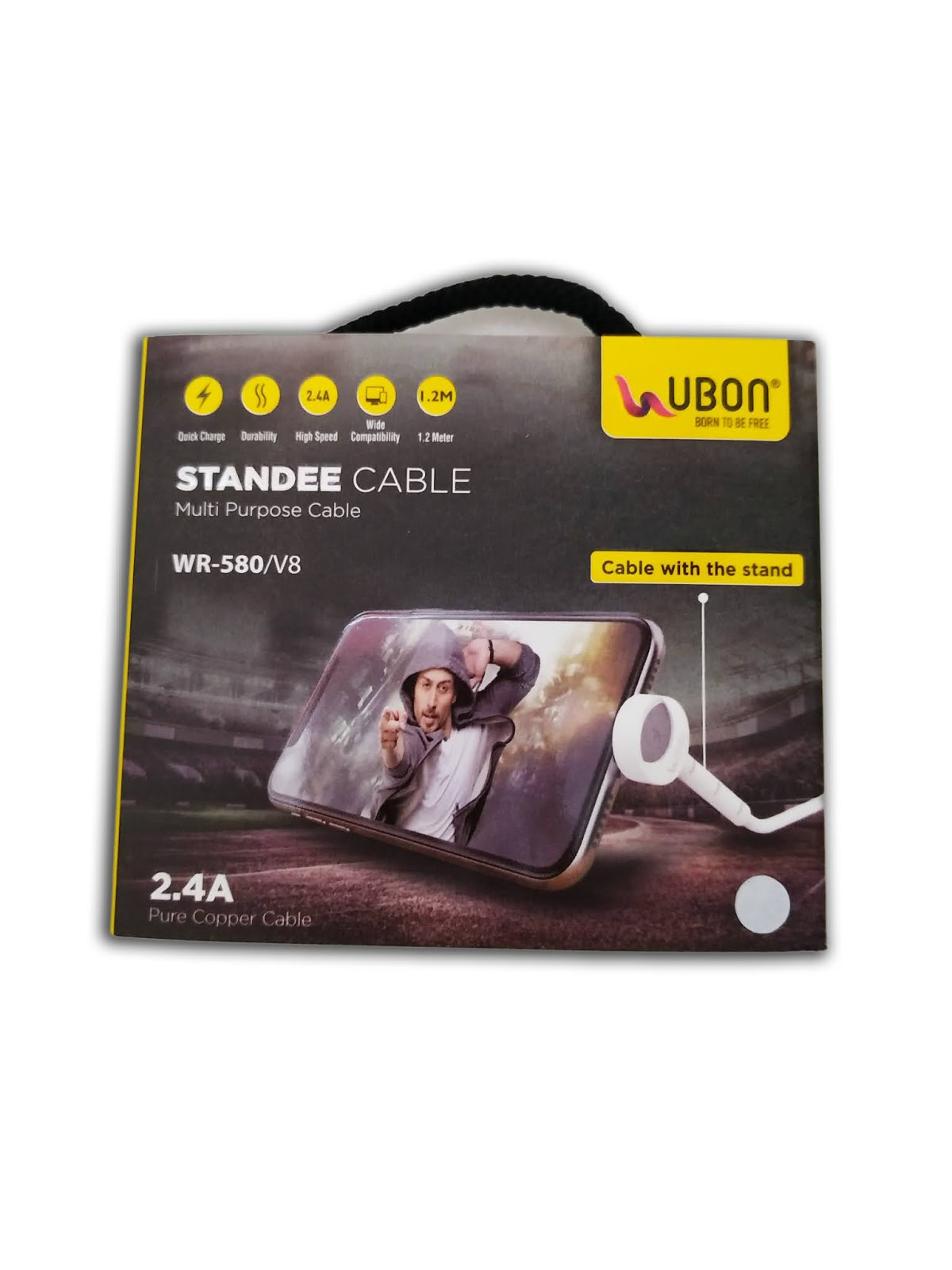 Ubon Standee Cable WR-580 V8 Multi-Purpose Charger Cable Or Data Cable (Black, White)