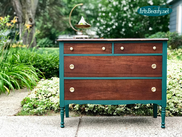 Westminster Green Vintage Dresser Makeover using General Finishes Milk Paint
