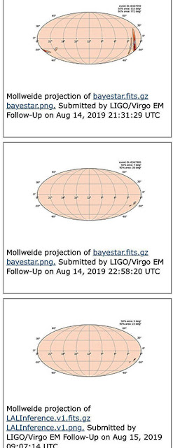 GW Event screenshot showing improvement of arcs of possible sky locations for S190814bv as of August 15, 2019 (Source: gracedb.ligo.org)