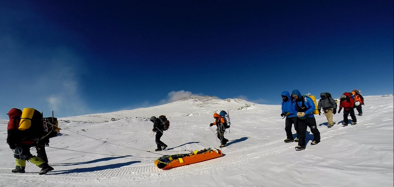 Training on Mt Erebus - Active volcano in Antarctica