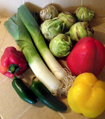 kohlrabi, leeks, jalapenos, red and yellow bell peppers