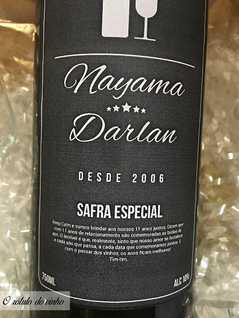 rótulo do vinho personalizado