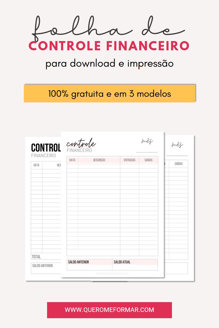 Imagens de Divulgação para Pinterest Folha de Controle Financeiro Gratuita para Download e Impressão | 3 Modelos