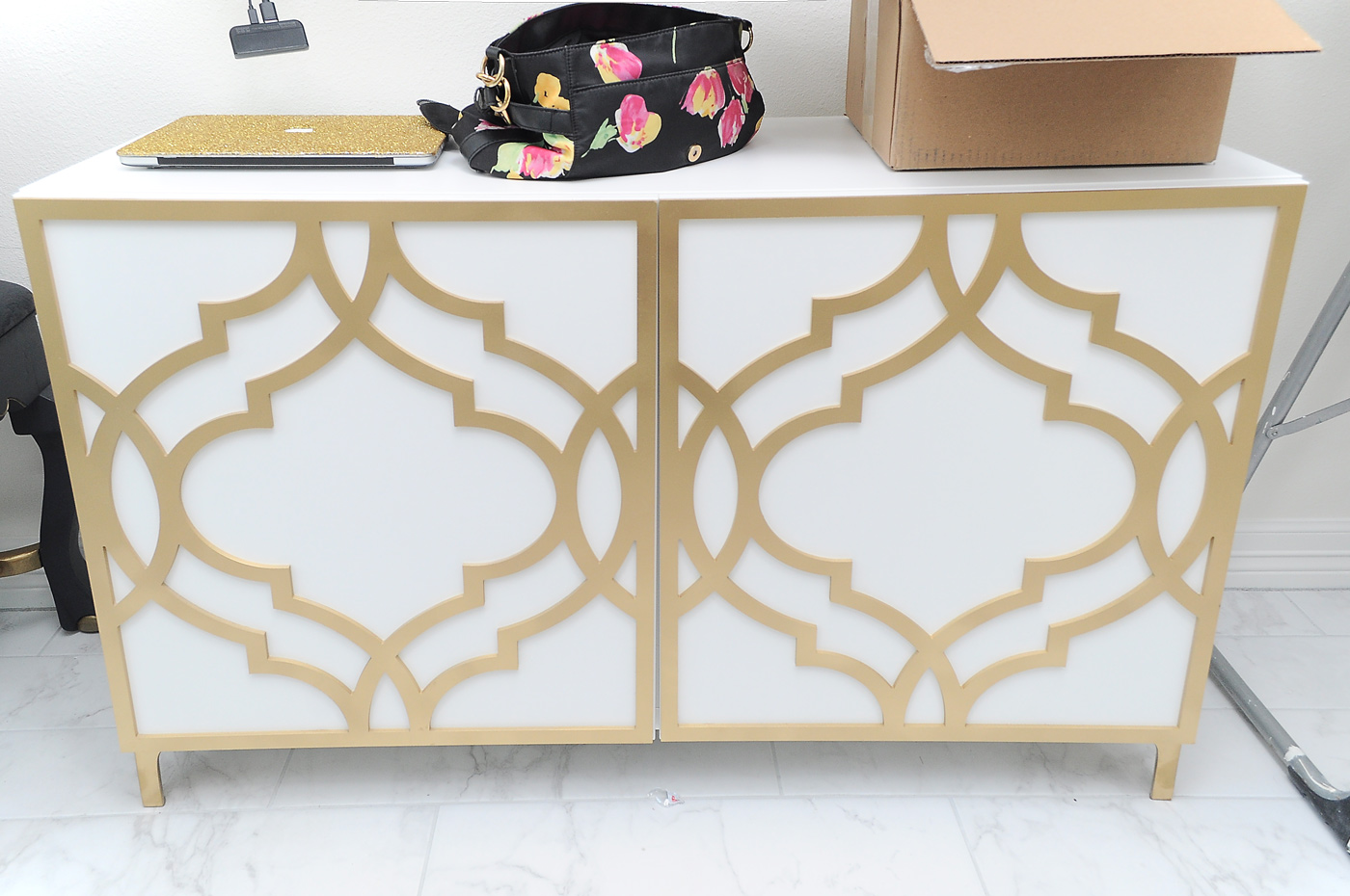 IKEA Besta unit with Khloe O'verlays- full DIY tutorial at monicawantsit.com #ikeahacks #ikeahack #besta