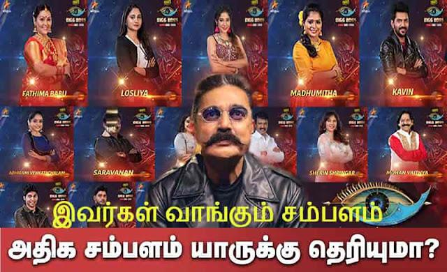 bigg boss 3 tamil contestants salary