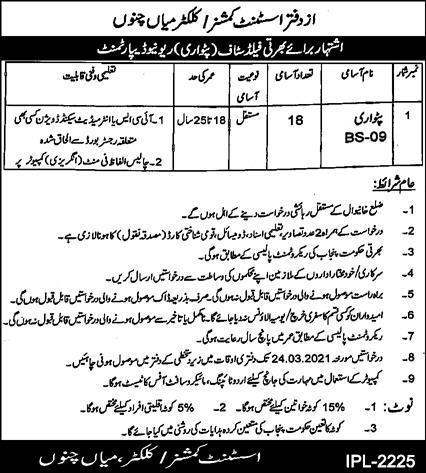 Revenue Department Jobs For Patwari in Mian Channu | Patwari Jobs