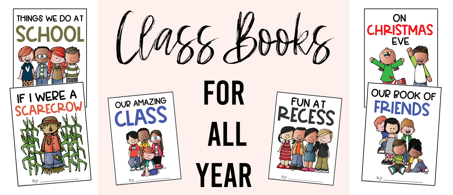 This pack contains a full year of class books. There are 5 class book template options for every month. The book covers come in both color and in black and white options. These class-made creations are sure to be a hit in your reading center. Kids LOVE to read their own writing…and writing done by their friends. THESE WILL BE THE FAVORITE BOOKS IN YOUR CLASS LIBRARY!
