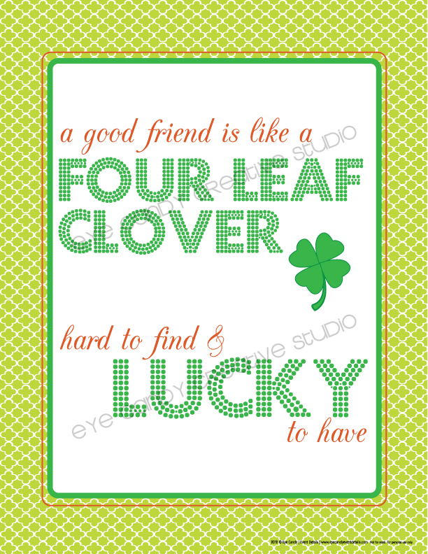 four leaf clover, lucky, free st patty's day art, st patrick's day, friends