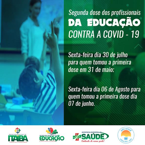 Saúde de Itaíba divulga calendário da 2ª Dose dos trabalhadores da Educação