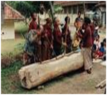 """Musik dan tari tradisional """"Mappadendang"""", Sulawesi Selatan (musik Lesung)"""