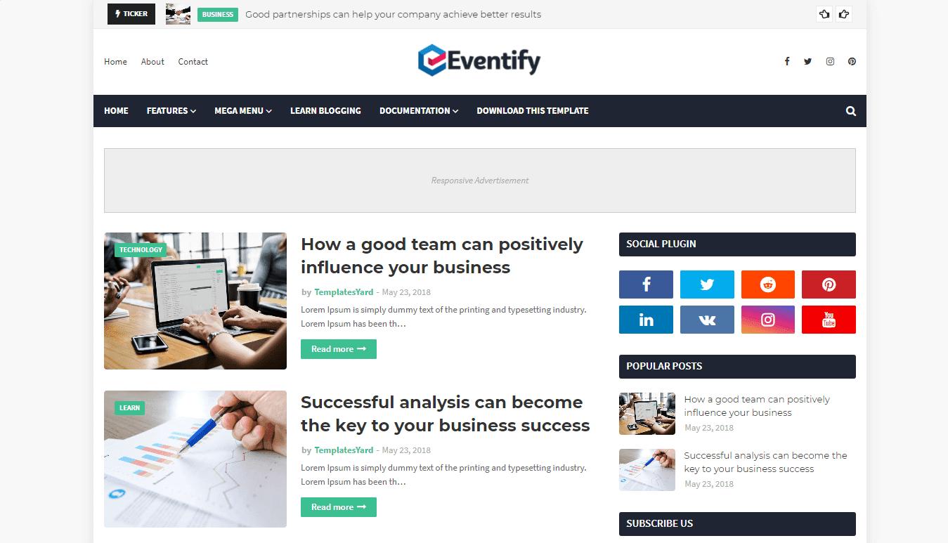 Eventify Blogger Template