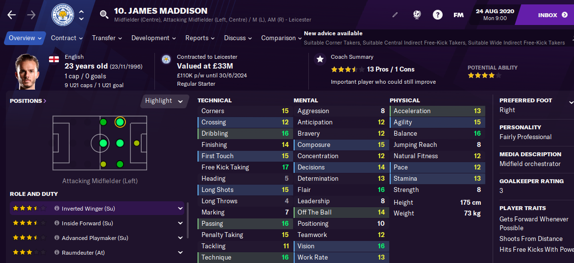 James Maddison Football Manager 2021