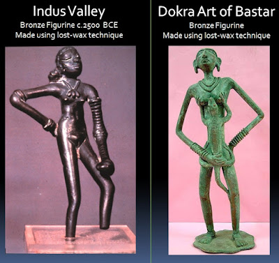 The bronze figurines of Moheno-Daro and Bastar are made using the lost-wax method and are remarkably similar in their design.