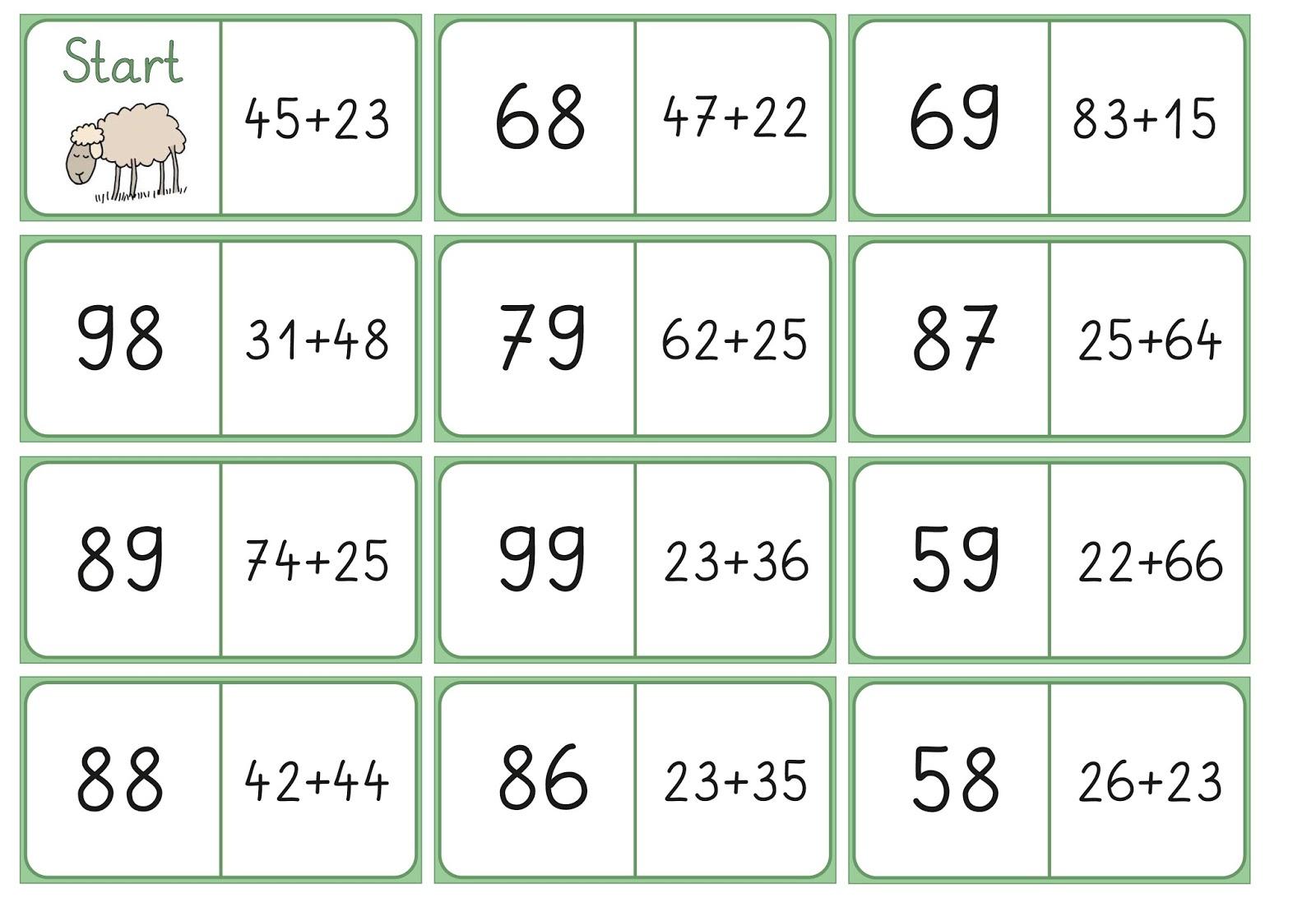 Lernstübchen: Domino zur Addition im ZR bis 100