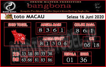 Prediksi Toto Macau Selasa 16 Juni 2020 - Bang Bona