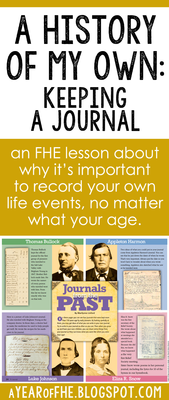 A Year of FHE: Year 01/Wk 04: Personal History & Keeping a