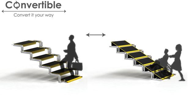 Escada Que Se Converte Em Rampa