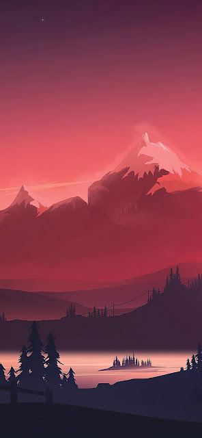Red Sunset Minimalist wallpaper 4k