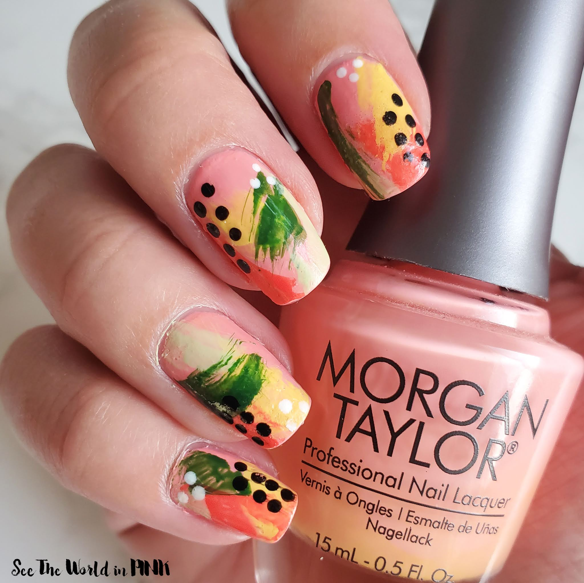 Manicure Monday - Tropical Abstract Nail Art