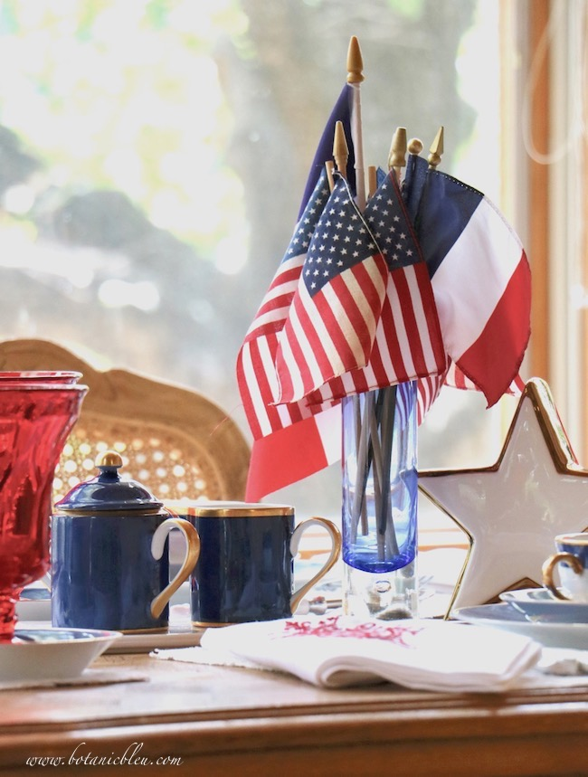 Labor Day patriotic table setting centerpiece of flags