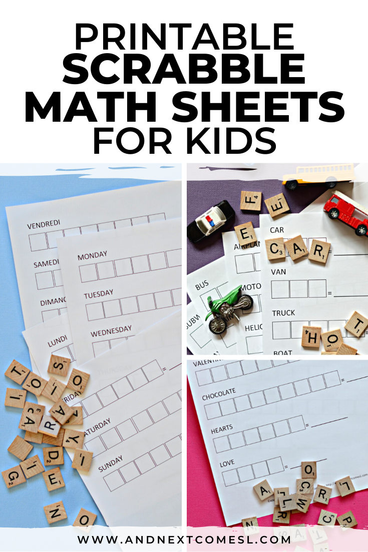 Scrabble math worksheets and free printables