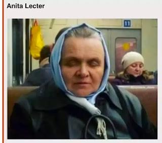 Señora con pañuelo en la cabeza parecido a Anníbal lecter
