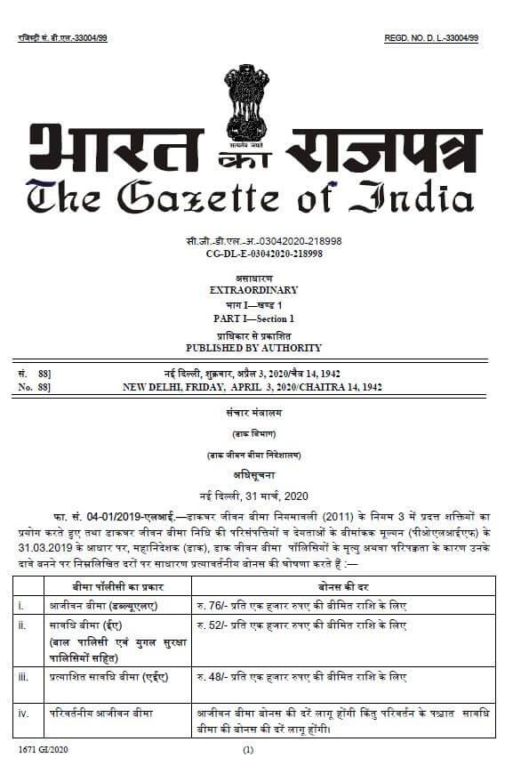 PLI Gazette Notification regarding rate of Bonus for financial year 2020-21