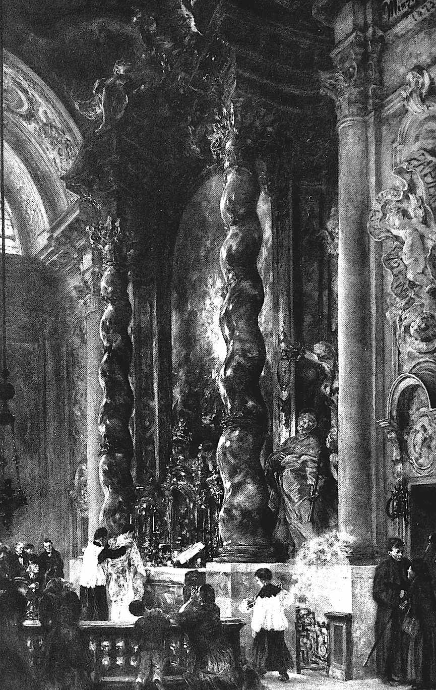 an Adolf von Menzel image of twin columns in a church
