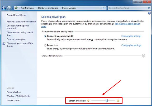 Cara Mengatur Cahaya Laptop dan PC Windows 7 dengan Mudah - Power Options - Brightness Screen