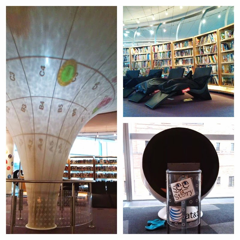 In this Futuristic Library, you can lounge and read, listen to a story, or watch one.