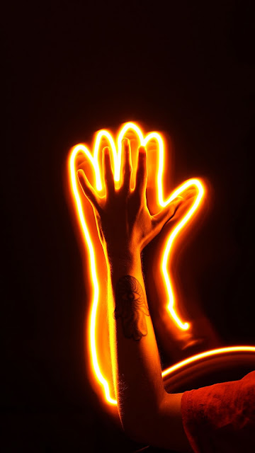 Wallpaper Free Hand, Neon Light, Glow, Dark