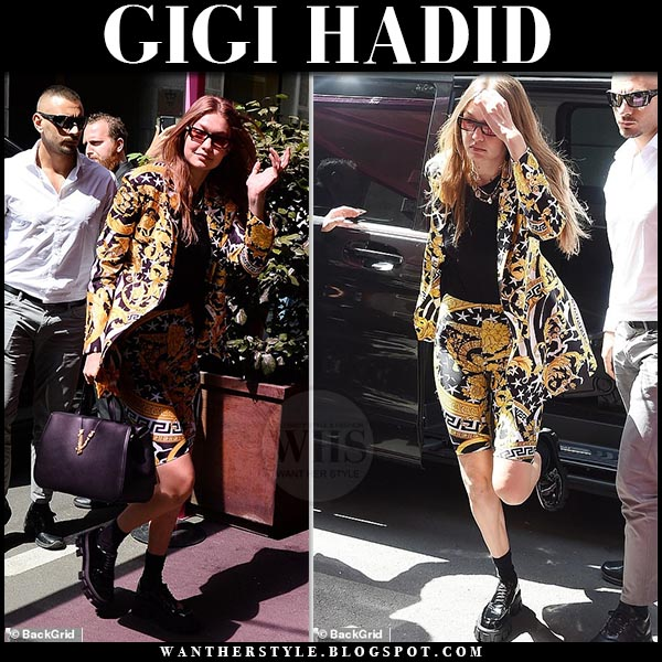 Gigi Hadid in yellow baroque print Versace blazer and matching shorts, Milan fashion week outfit june 15