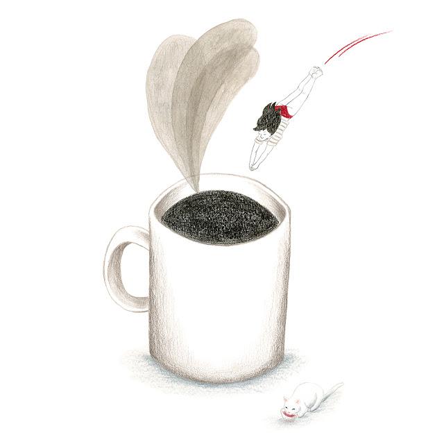 Mar Villar, ilustración, café, despertar, buenos días, piscina de café
