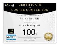 Certificato di pittura acrilica, Patrick Ezechiele