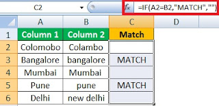 Compare Two Columns in Excel for Matches and Differences in Hindi