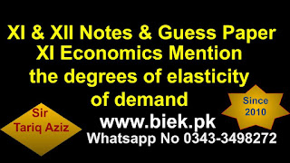 Mention the degrees of elasticity of demand - www.biek.pk