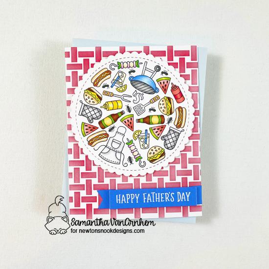 Summer BBQ card by Larissa Heskett | BBQ Roundabout Stamp Set, Basketweave Stencil and Circle Frames Die Set by Newton's Nook Designs #newtonsnook
