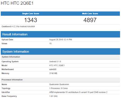 HTC U12 Life sẽ ra mắt vào ngày 30-8? RAM 4GB, Snapdragon 660