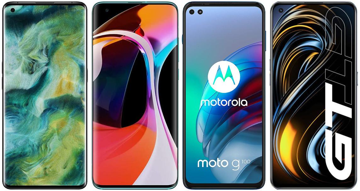 Oppo Find X2 vs Xiaomi Mi 10 vs Motorola Moto G100 vs Realme GT