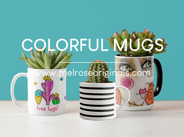 image of colorful mug planter diy gift idea for valentine's day