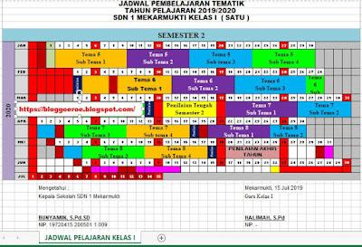 Jadwal Pelajaran Tematik Kurikulum 2013 Kelas 1 SD/MI Semester 2 Tahun Pelajaran 2019/2020, https://bloggoeroe.blogspot.com