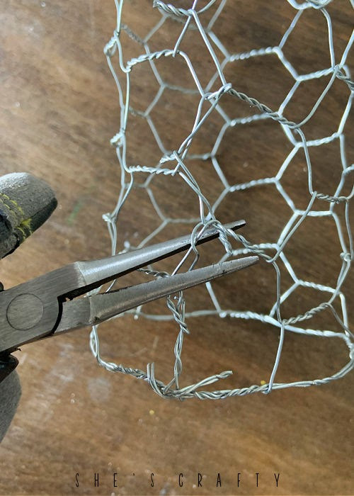 How to make a chicken wire cloche - bend wires with needle nose pliers