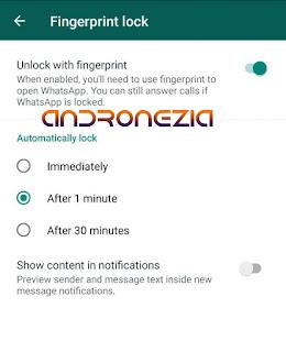 Aktifkan Fitur sidik Jari whatsapp