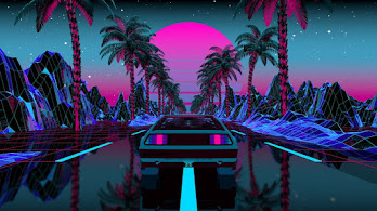 Car, Night, Scenery, Retrowave, Palm, Trees, 4K, #4.3061